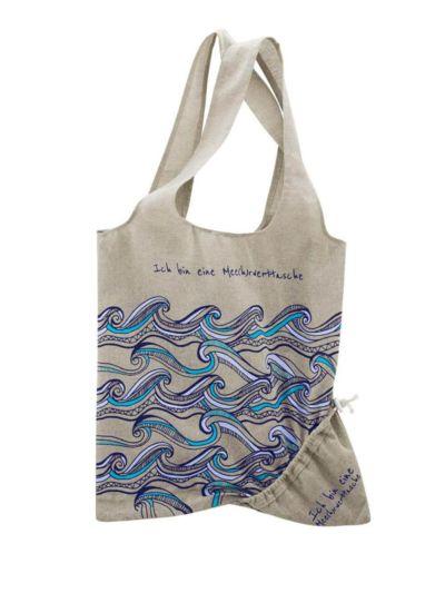 Sac pliable coton et polyester recyclés, naturel/vagues