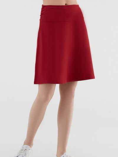 Jupe jersey coton bio, taille froncée, GOTS, rouge
