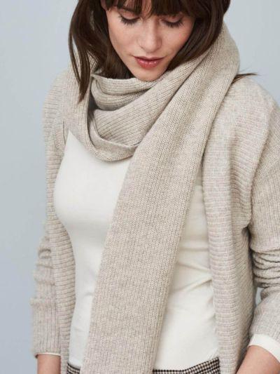 Echarpe unisexe coton/laine bio, GOTS, Alpaca