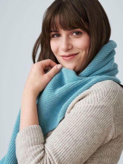 Echarpe unisexe coton/laine bio, GOTS, Cameo Blue