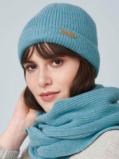 Bonnet coton/laine bio, unisexe, GOTS, Cameo Blue