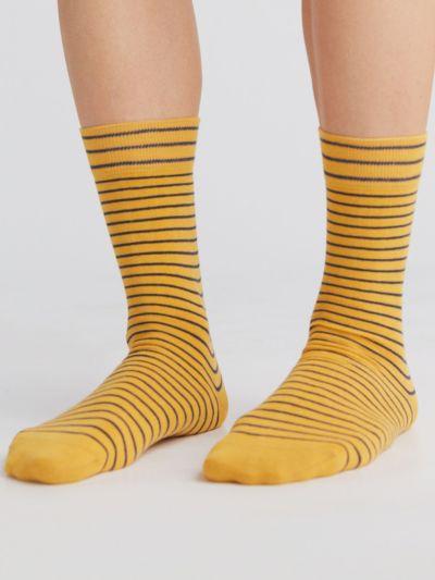 Chaussettes coton bio du 35 au 46 rayées moutarde/marine