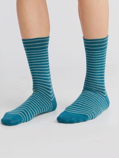 Chaussettes coton bio du 35 au 46 rayées petrole/bleu