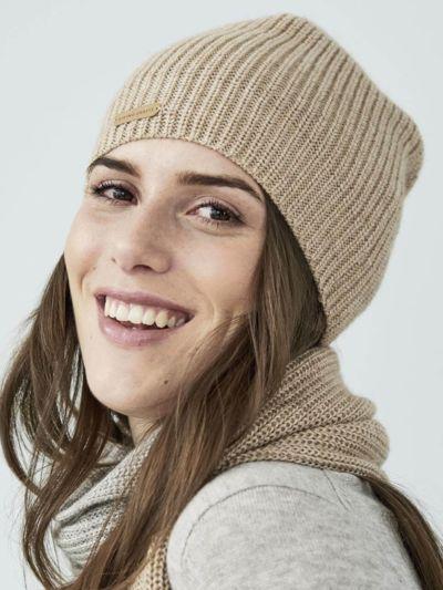 Bonnet 70% laine bio et30% Alpaga, sable blond GOTS