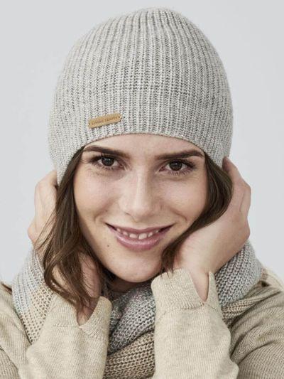 Bonnet 70% laine bio et30% Alpaga, gris clair chiné GOTS