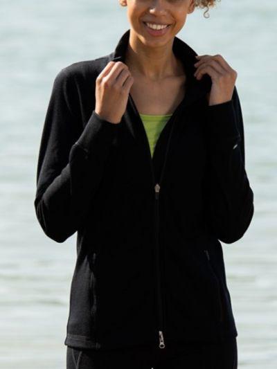 Veste sport 70 % laine bio/28% soie/2 % d'élasthane, 240 gr/m2, femme, noir