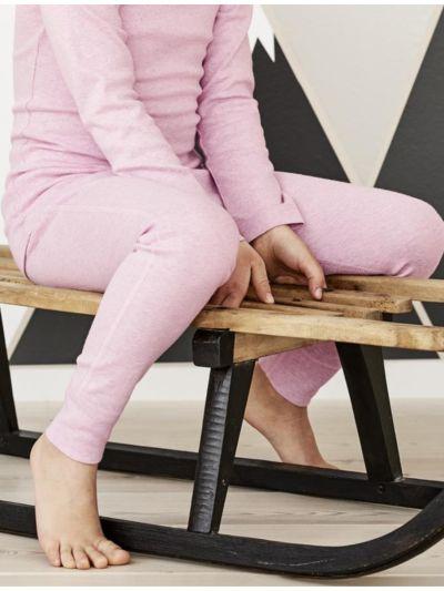 Caleçon long 100% coton bio pour fille rose chiné