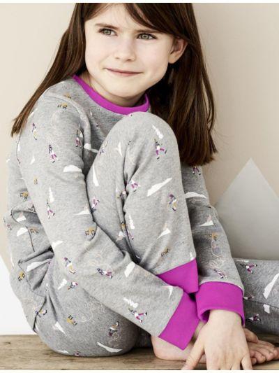 "Pyjama 100% coton bio Fille ""patineuses"" GOTS"