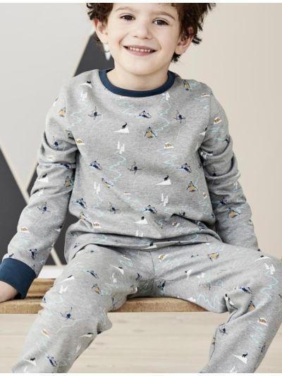 """Pyjama 100% coton bio garçon """"skieurs"""" GOTS"""