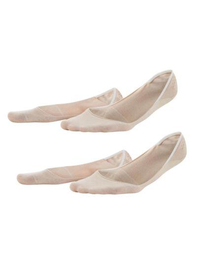 Lot de 2 paires de chaussettes protège-pieds coton bio du 35 au 42, peau, VEGAN