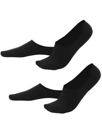 Lot de 2 paires de chaussettes protège-pieds coton bio,Noir, du 39 au 46