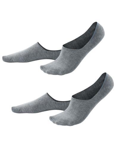 Lot de 2 paires de chaussettes protège-pieds coton bio, Gris Chiné, du 39 au 46