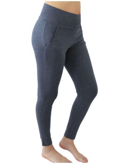 Pantalon sport/yoga coton bio marine chiné