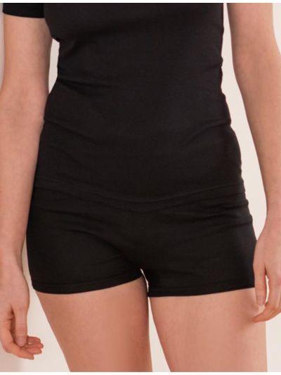 """Ligne """"CLASSIC"""" shorty taille haute 100% coton bio noir"""