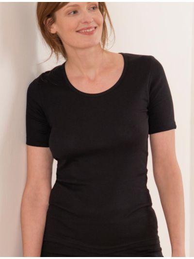 """Ligne """"CLASSIC"""" tricot de peau 100% coton bio femme, noir"""