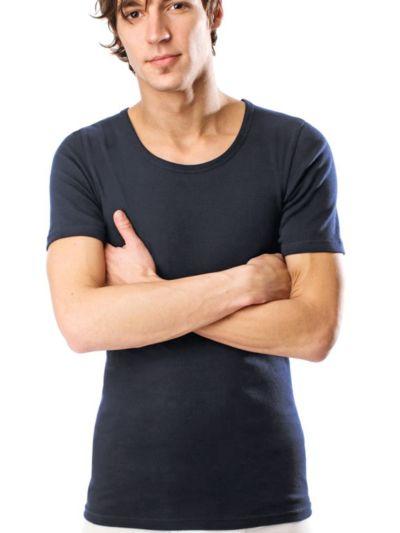 Tricot de peau homme 100% coton biologique MC bleu graphite