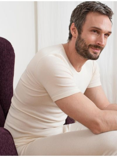 Tricot de peau homme 100% coton biologique manches courtes naturel