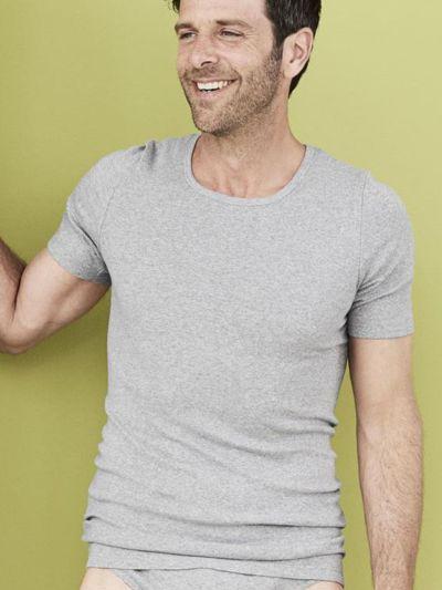 Tricot de peau homme 100% coton biologique, GOTS, MC, gris chiné