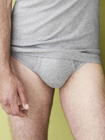 Slip 100% coton bio GOTS avec ouverture homme, gris chiné