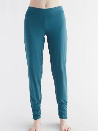 Pantalon coton bio Yoga bas resserré femme, bleu paon, GOTS