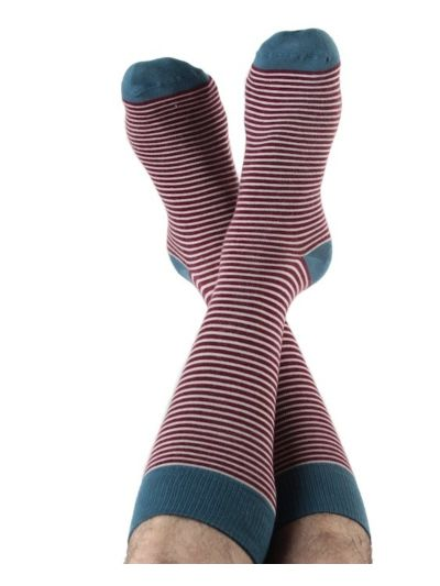 Chaussettes coton bio du 35 au 46 rayées Bordeaux/Naturel