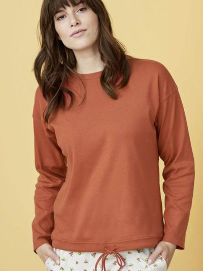 Haut de pyjama 100% coton bio  (150 g/m2), terre rouge, GOTS et VEGAN