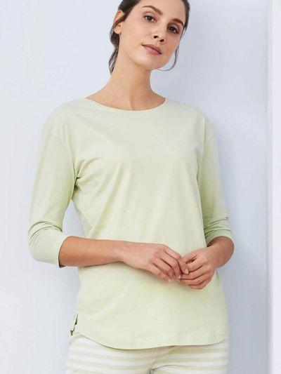 Haut de pyjama 100% coton bio, manches 3/4, vert pâle, GOTS et VEGAN