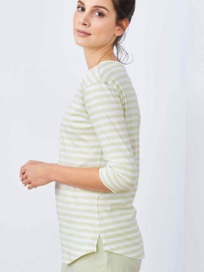 Haut de pyjama 100% coton bio, manches 3/4,  rayé vert pâle, GOTS et VEGAN
