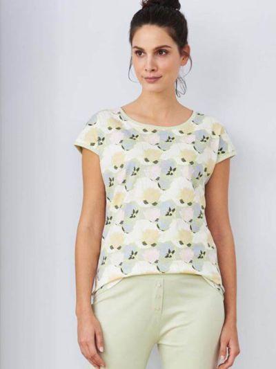 Haut de pyjama 100% coton bio, manches courtes, Lotus GOTS