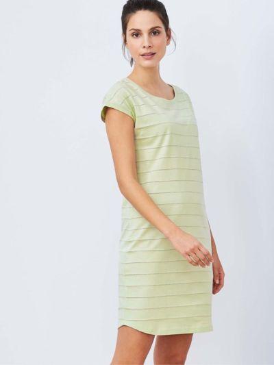 Chemise de nuit 100% coton bio, manches courtes, vert pâle, GOTS