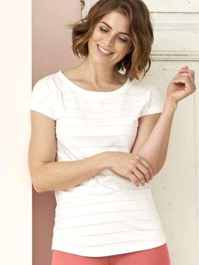 Haut de pyjama 100% coton bio, manches courtes, blanc cassé, GOTS