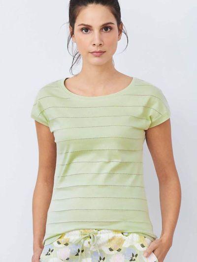 Haut de pyjama 100% coton bio, manches courtes, Vert pâle, GOTS