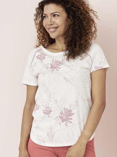 Haut de pyjama 100% coton bio, manches courtes, blanc cassé/magnolia, GOTS