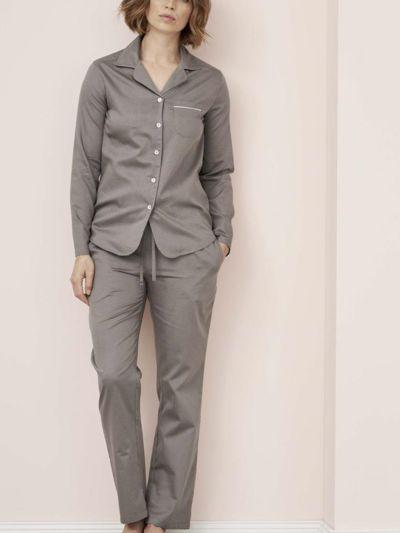 Pyjama satin 100% coton bio femme pois taupe, GOTS