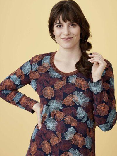 Haut de pyjama 100% coton bio, GOTS et  VEGAN, Fleurs sombres