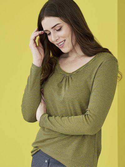 Haut de pyjama 100% coton bio, GOTS rayé marine / brass