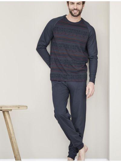 Pyjama 100% coton bio homme jacquard bleu/ruby GOTS