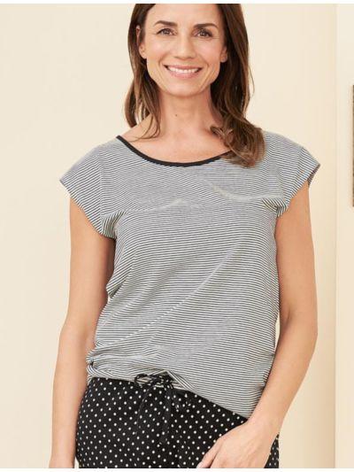 Haut de pyjama 100% coton bio, manches courtes, noir/blanc à rayures
