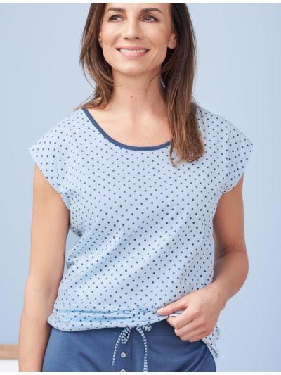 Haut de pyjama 100% coton bio, manches courtes, bleu à pois