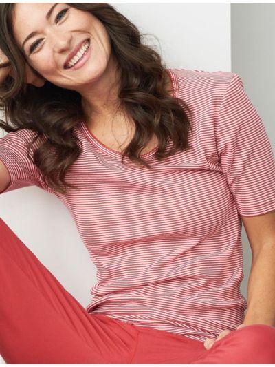 Haut de pyjama 100% coton bio MC rayé Rouge/blanc GOTS