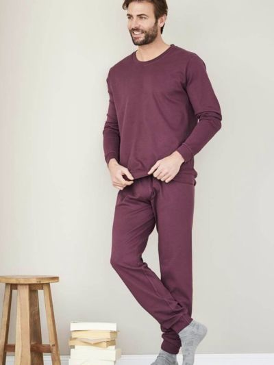 Pyjama 100% coton bio, Homme, burgundy, certfié GOTS et VEGAN