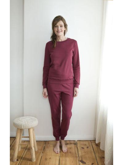 Pyjama 100% coton bio femme caleçon Merlot GOTS