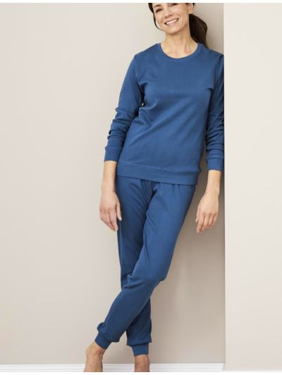 Pyjama 100% coton bio femme caleçon bleu shadow GOTS