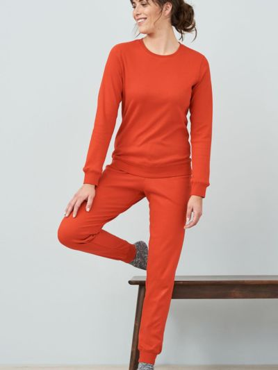 Pyjama 100% coton bio femme caleçon terre orange GOTS