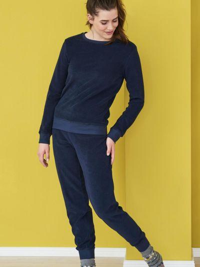 Pyjama éponge 100% coton bio, GOTS, femme, marine
