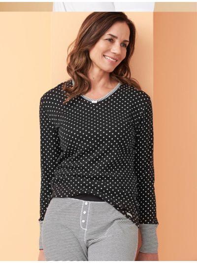Haut de pyjama 100% coton bio noir à pois