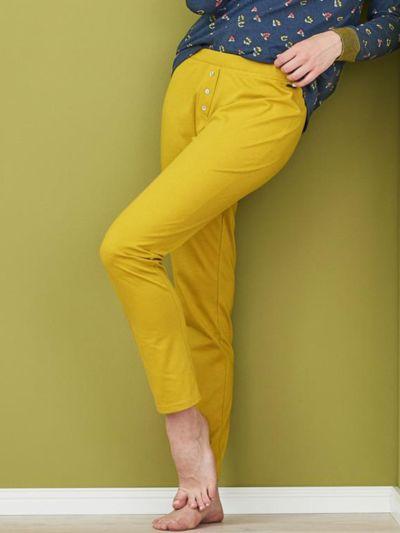 Pantalon de pyjama 100% coton bio, GOTS, uni brass