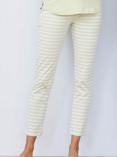 Pantalon de pyjama 100% coton bio, GOTS, rayé vert/naturel