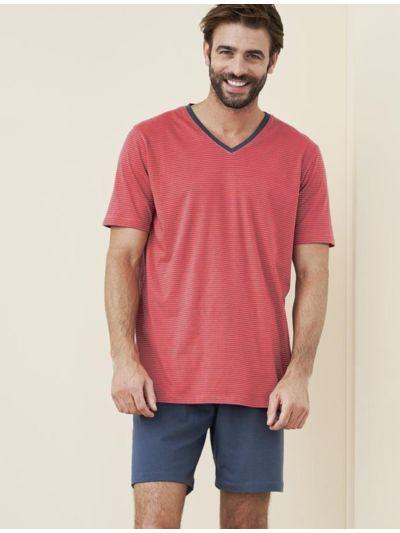 Pyjama/short 100% coton bio rayé gris/cayenne GOTS