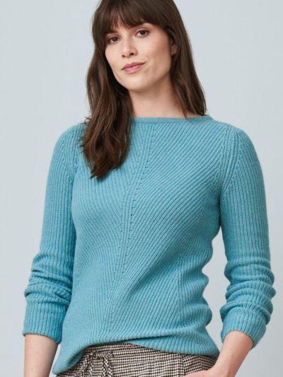 Pull 65% coton/35% laine bio, Cameo Blue, certifié GOTS